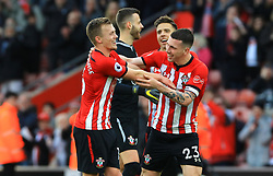 Southampton's James Ward-Prowse (left) and Pierre-Emile Hojbjerg celebrate after the final whistle