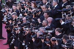 Photographers working during the Les Fantomes d'Ismael screening and opening ceremony held at the Palais Des Festivals in Cannes, France on May 17, 2017, as part of the 70th Cannes Film Festival. Photo by Aurore Marechal/ABACAPRESS.COM