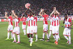 Mitchell Donald, Damien Le Tallec and other players of Crvena Zvezda after the football match between NK Crvena Zvezda Beograd and Arsenal FC in Group H of UEFA Europa League 2017/18, on October 19, 2017 in Stadion Rajko Mitic, Belgrade, Serbia. Photo by Marko Metlas / Sportida