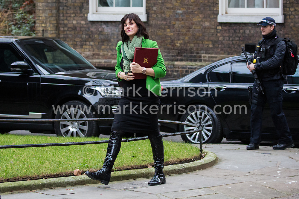 London, UK. 15th January, 2019. Claire Perry MP, Minister for Energy and Clean Growth at the Department of Business, Energy and Industrial Strategy, arrives at 10 Downing Street for a Cabinet meeting on the day of the vote in the House of Commons on Prime Minister Theresa May's proposed final Brexit withdrawal agreement.