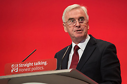 © Licensed to London News Pictures . 28/09/2015 . Brighton , UK . JOHN MCDONALD , shadow chancellor , speaks at the 2015 Labour Party Conference . Photo credit : Joel Goodman/LNP