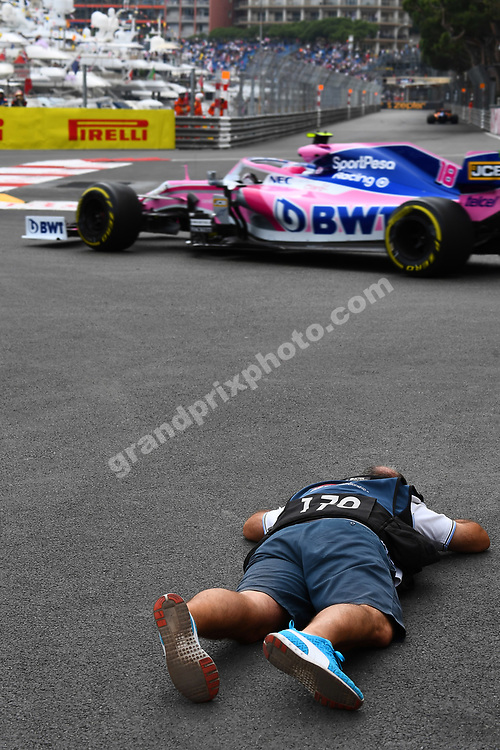 Photographer taking photos of Lance Stroll (Racing Point-Mercedes) during practice before the 2019 Monaco Grand Prix. Photo: Grand Prix Photo