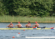 Trackai. LITHUANIA. USA BM4- Bow Theodore BAUMGARDENER, Alexanda KARWOSKI, William GILLES and Justin JONES, Qualify for the Sunday final, of the men's four, at the  2012 FISA U23 World Rowing Championships,   16:20:01 {dow], {date} [Mandatory Credit: Peter Spurrier/Intersport Images]..Rowing. 2012. U23.