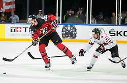 Colton Parayko of Canada vs Simon Bodenmann of Switzerland during the 2017 IIHF Men's World Championship group B Ice hockey match between National Teams of Canada and Switzerland, on May 13, 2017 in AccorHotels Arena in Paris, France. Photo by Vid Ponikvar / Sportida