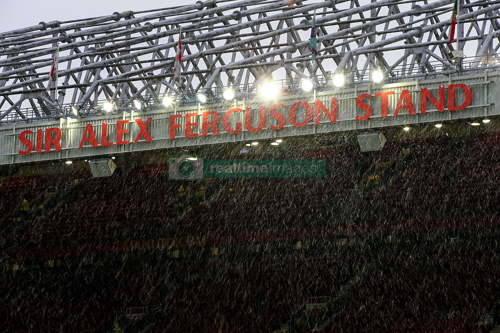 10 December 2017 -  Premier League - Manchester United v Manchester City - Light snow falling over the Sir Alex Ferguson stand at Old Trafford - Photo: Marc Atkins/Offside