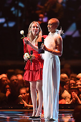 EDITORIAL USE ONLY.<br /><br />Ellie Goulding and Adwoa Aboah on stage at the Brit Awards at the O2 Arena, London.