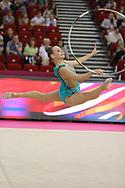 Leina Arina, Latvia, during day one of the 33rd European Rhythmic Gymnastics at Papp Laszlo Budapest Sports Arena, Budapest, Hungary on 19 May 2017. Photo by Myriam Cawston.