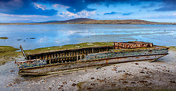 Old abandoned ferry on the beach at Borve, Berneray, Outer Hebrides, Scotland<br /> <br /> (c) Andrew Wilson | Edinburgh Elite media