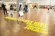 Visitors arrive at BklynDesigns at the Brooklyn Expo Center in Greenpoint. BklynDesigns is part of NYCxDesign, a week-long design festival in New York City.