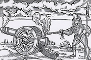 Master gunner firing a cannon by applying fire to the breech. Woodcut from 'Tavels' by Edward Webbe (London, 1590).