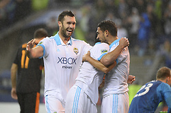 October 8, 2018 - Seattle, Washington, U.S - Seattle players WILL BRUIN (17), NICO LODEIRO (10) and CRISTIAN ROLDAN (7) celebrate a ROLDAN goal as the Houston Dynamo visits the Seattle Sounders in a MLS match at Century Link Field in Seattle, WA. Seattle won the match 4-1. (Credit Image: © Jeff Halstead/ZUMA Wire)