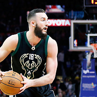 16 December 2015: Milwaukee Bucks center Miles Plumlee (18) looks to pass the ball during the Los Angeles Clippers 103-90 victory over the Milwaukee Bucks, at the Staples Center, Los Angeles, California, USA.