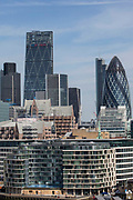 Buildings of a crowded city of Londons skyline including the Gherkin 30 St Mary Axe. Central London, UK. 5th May 2016