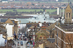 © Licensed to London News Pictures. 24/01/2016.  HMS Severn passing Gravesend on her way up to London. The River-class navy vessel HMS Severn has arrived in London for a four day visit during which she will celebrate the 150th anniversary of the London Fire Brigade. She was met by the fire boat Fire Dart and given a water salute at North Greenwich. Credit: Rob Powell/LNP