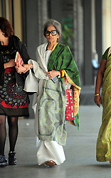 Tara Gandhi granddaughter of Mahatma Gandhi leaves his hotel in the centre