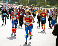 There were superheroes aplenty traveling the 7.46-mile course from San Francisco Bay to the Pacific Ocean at the 107th running of the Bay to Breakers, Sunday, May 20, 2018, in San Francisco. (Photo by D. Ross Cameron)