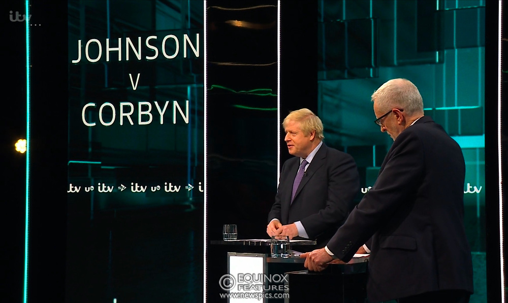 Broadcast TV, United Kingdom - 19 November 2019<br /> Labour leader Jeremy Corbyn and Prime Minister Boris Johnson debate live on ITV tonight as part of the 2019 general election campaign.<br /> (supplied by: Supplied by: EQUINOXFEATURES.COM)<br /> Picture Data:<br /> Contact: Equinox Features<br /> Date Taken: 20191119<br /> Time Taken: 212256<br /> www.newspics.com