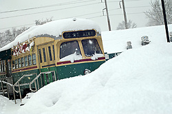 The Trolley Car Ice Cream stand on Germantown Avenue covered in snow.