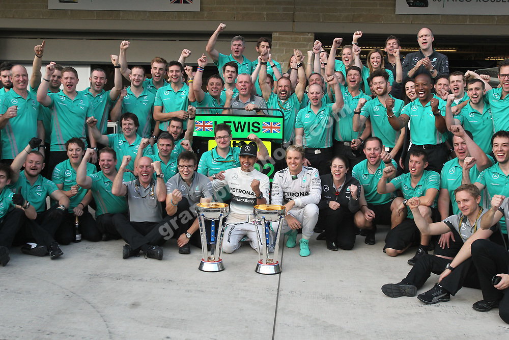 Mercedes team with Lewis Hamilton and Nico Rosberg celebrate after the 2014 United States Grand Prix at the Circuit of the Americas in Austin. Photo: Grand Prix Photo