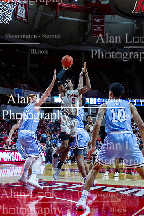 NORMAL, IL - February 08: Keith Fisher III gets fouled by Bronson Kessinger while shooting for 2 points during a college basketball game between the ISU Redbirds and the Indiana State Sycamores on February 08 2020 at Redbird Arena in Normal, IL. (Photo by Alan Look)