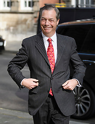 © Licensed to London News Pictures. 18/04/2019. London, UK. Brexit Party leader NIGEL FARAGE is seen arriving at Milbank studios in Westminster ahead of a television appearance. The newly formed Brexit Party has taken a sudden surge in polls ahead of upcoming European elections in May.  Photo credit: Ben Cawthra/LNP