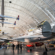 Planes on display in the Boeing Hangar at the Smithsonian's National Air and Space Museum's Udvar-Hazy Center in Chantilly, Virginia, just outside Washington DC.