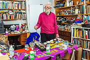 Dan Jones, RA. A contemporary British painter in his studio, London, United Kingdom. Born in 1940 is the son of Pearl Binder and Elwyn Jones, the former Labour MP for Poplar. A former youth worker, Jones has been a popular figure in the East End for decades.