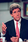 Senator John Kerry (D-MA) discusses the ongoing scandal involving President Clinton during NBC's Meet the Press September 20, 1998 in Washington, DC. Kerry suggested the President go before the House Judiciary committee and tell the complete story.
