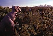 T.rex in the Calgary Zoo Dinosaur Park overlooks Calgary, Alberta.