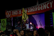 Massive Attack playing at the Marble Arch Extinction Rebellion camp. Several roads were blocked across four sites in central London, by the Extinction Rebellion climate change protests, April 2019.