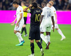 November 1, 2018 - Los Angeles, California, U.S - Carlos Vela #10 of the LAFC is disappointed as after losing their MLS playoff game  against the Real Salt Lake on Thursday November 1, 2018 at Banc of California  Stadium in Los Angeles, California. LAFC lost to Real Salt Lake, 3-2. DOUGLAS  CUELLAR/PI (Credit Image: © Prensa Internacional via ZUMA Wire)
