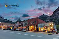 Dusk light on Main Street in Ouray, Colorado, USA