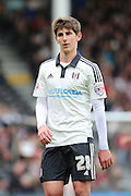 Fulham midfielder, Emerson Hyndman (28) on his own during the Sky Bet Championship match between Fulham and Cardiff City at Craven Cottage, London, England on 9 April 2016. Photo by Matthew Redman.