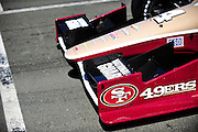 24-26 August, 2012, Sonoma, California USA.JR Hildebrand (4) special 49ers livery detail..(c)2012, Jamey Price.LAT Photo USA