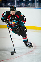 KELOWNA, CANADA - SEPTEMBER 5: Jack Cowell #8 of the Kelowna Rockets skates with the puck against the Kamloops Blazers on September 5, 2017 at Prospera Place in Kelowna, British Columbia, Canada.  (Photo by Marissa Baecker/Shoot the Breeze)  *** Local Caption ***