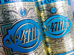 Detail of bottles of famous 4711 brand of Eau de Cologne from the city in Germany
