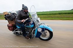 Evan Riggle riding his 1942 Indian 4-cylinder in the Cross Country Chase motorcycle endurance run from Sault Sainte Marie, MI to Key West, FL (for vintage bikes from 1930-1948). Stage 3 from Milwaukee, WI to Urbana, IL. USA. Sunday, September 8, 2019. Photography ©2019 Michael Lichter.