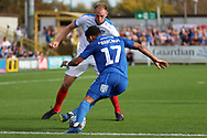 AFC Wimbledon striker Andy Barcham (17) dribbling into the box during the EFL Sky Bet League 1 match between AFC Wimbledon and Portsmouth at the Cherry Red Records Stadium, Kingston, England on 13 October 2018.