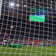 PARIS, FRANCE - September 10:  Kingsley Coman #11 of France scores his sides first goal as he beats goalkeeper Josep Gómes #1 of Andorra during the France V Andorra, UEFA European Championship 2020 Qualifying match at Stade de France on September 10th 2019 in Paris, France (Photo by Tim Clayton/Corbis via Getty Images)