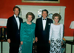 From Left to Right:-, MARK THATCHER: His mother Rt Hon MARGARET THATCHER.MP. British Prime Minister: RONALD REAGAN. Former US President: His Wife NANCY REAGAN. (Attending a dinner at 10 Downing Street), 13.06.1989. EXPA Pictures © 2016, PhotoCredit: EXPA/ Photoshot/ Photoshot<br /> <br /> *****ATTENTION - for AUT, SLO, CRO, SRB, BIH, MAZ, SUI only*****