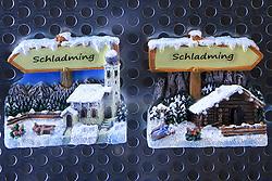 30.01.2013, Schladming, AUT, FIS Weltmeisterschaften Ski Alpin, Schladming 2013, Vorberichte, im Bild Schladming-Symbole in einem Schaufenster am 30.01.2013 // Schladming-buttons in a shop window on 2013/01/30, preview to the FIS Alpine World Ski Championships 2013 at Schladming, Austria on 2013/01/30. EXPA Pictures © 2013, PhotoCredit: EXPA/ Martin Huber