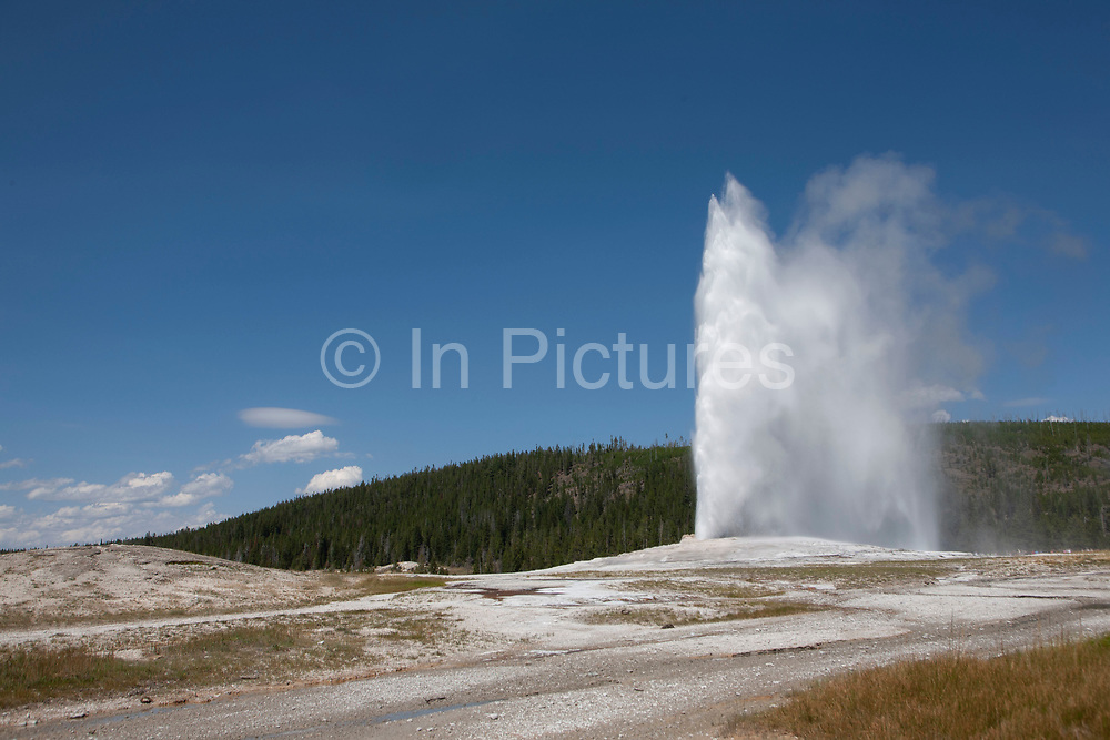 The Washburn Expedition in 1870 named Old Faithful for its regular schedule of eruptions and is the grand old geyser of Yellowstone National Park, on 7th August 2007 in Wyoming, United States. The intervals between eruptions average between 45-90 minutes and the average duration is about four minutes. To predict the next eruption, its first continuous surge is timed until the final splash.