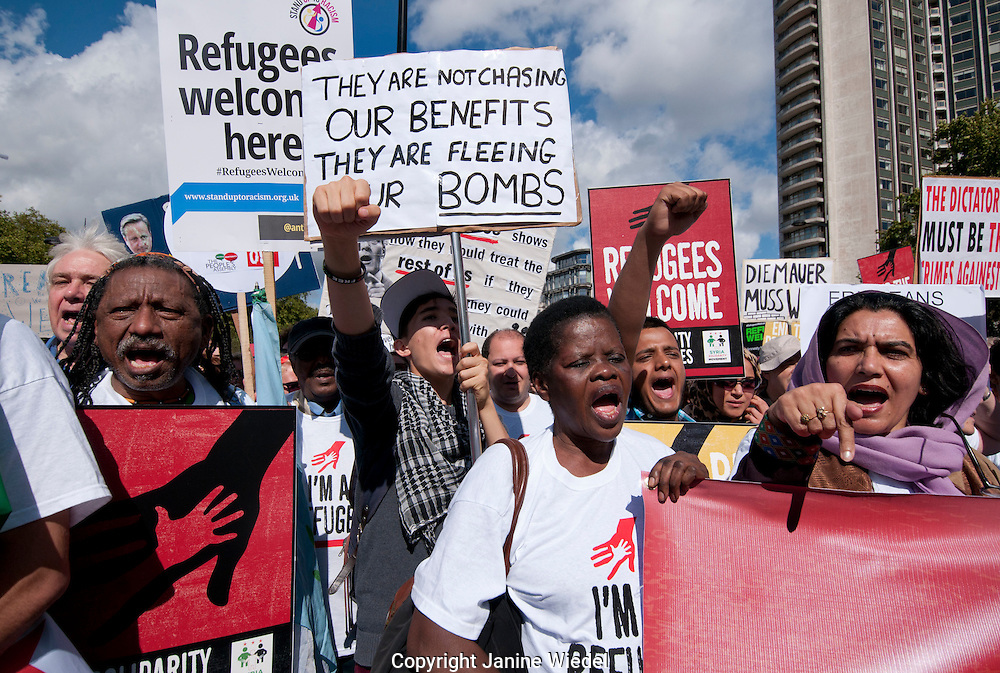 Thousands march through streets of London joining  in solidarity with the Refugees crisis 15 September 2015.