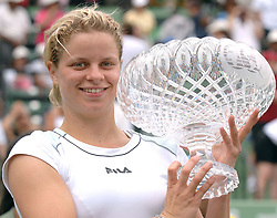 Belgium tennis player Kim Clijsters defeats Russian Maria Sharapova 6-3, 7-5 in the final of the Key Biscayne tennis tournament, in Miami, Florida, USA, on April 2, 2005. Photo by Corinne Dubreuil/CAMELEON/ABACA.