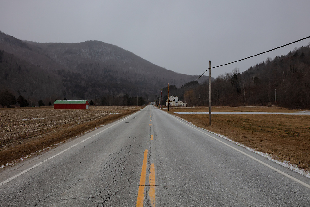 A wide open Route 100 seen on a freezing cold winter afternoon in Vermont.