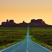 Image captured of Monument Valley from the middle of the road.
