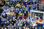 Golden State Warriors fans watch their team take on the Minnesota Timberwolves at Oracle Arena in Oakland, Calif., on January 25, 2018. (Stan Olszewski/Special to S.F. Examiner)