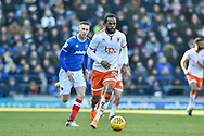 Blackpool Forward, Nathan Delfouneso (30) runs at the Portsmouth defence during the EFL Sky Bet League 1 match between Portsmouth and Blackpool at Fratton Park, Portsmouth, England on 24 February 2018. Picture by Adam Rivers.