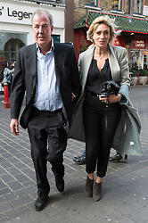 © Licensed to London News Pictures. 03/05/2016. Former Top Gear host JEREMY CLARKSON arrives with PHILLIPA HOLT for a talk at the China Exchange.  His 60 minutes talk will include discussion on TV and his anticipated upcoming Amazon series.  London, UK. Photo credit: Ray Tang/LNP