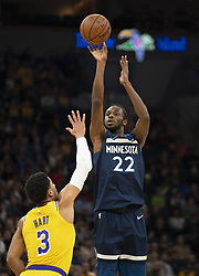 January 6, 2019 - Minneapolis, MN, USA - Minnesota Timberwolves forward Andrew Wiggins (22) releases a three-point shot in the first half against the Los Angeles Lakers on Sunday, Jan. 6, 2019 at Target Center in Minneapolis, Minn. He finished the game with 28 points. The Minnesota Timberwolves defeated the Los Angeles Lakers, 108-86. (Credit Image: © Jeff Wheeler/Minneapolis Star Tribune/TNS via ZUMA Wire)